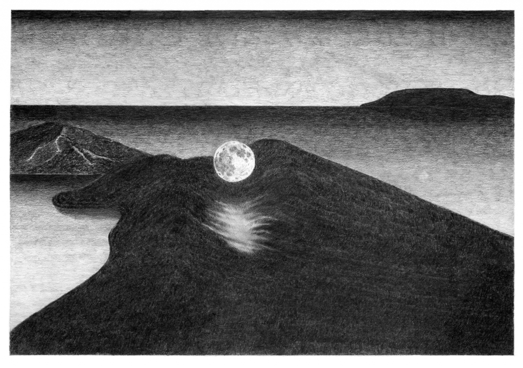 moon rise 1, pencil on paper, 36cm x 26cm, 2013. private collection.