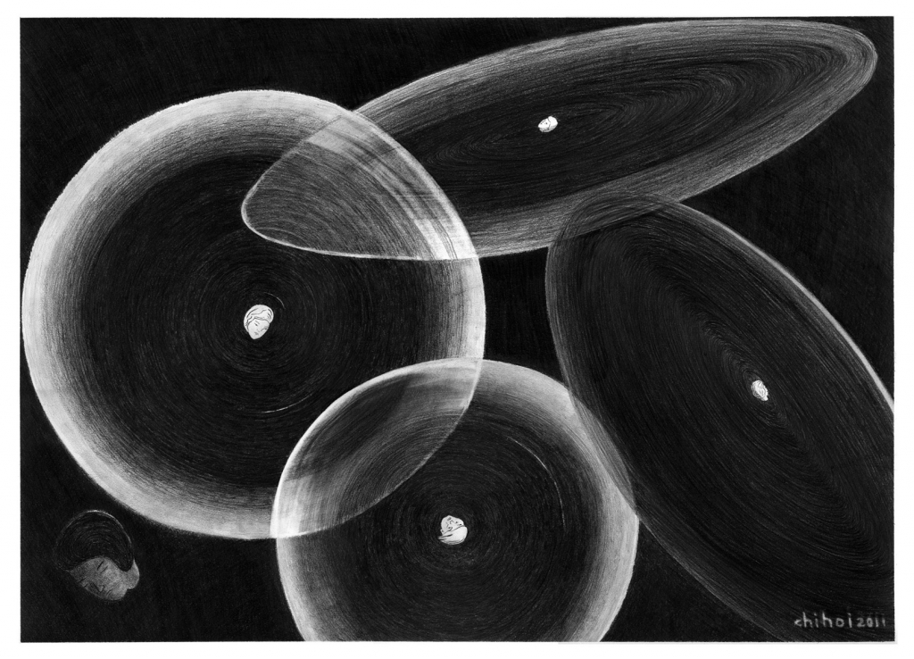 planets, pencil on paper, 76.5cm x 57cm, 2011. private collection.