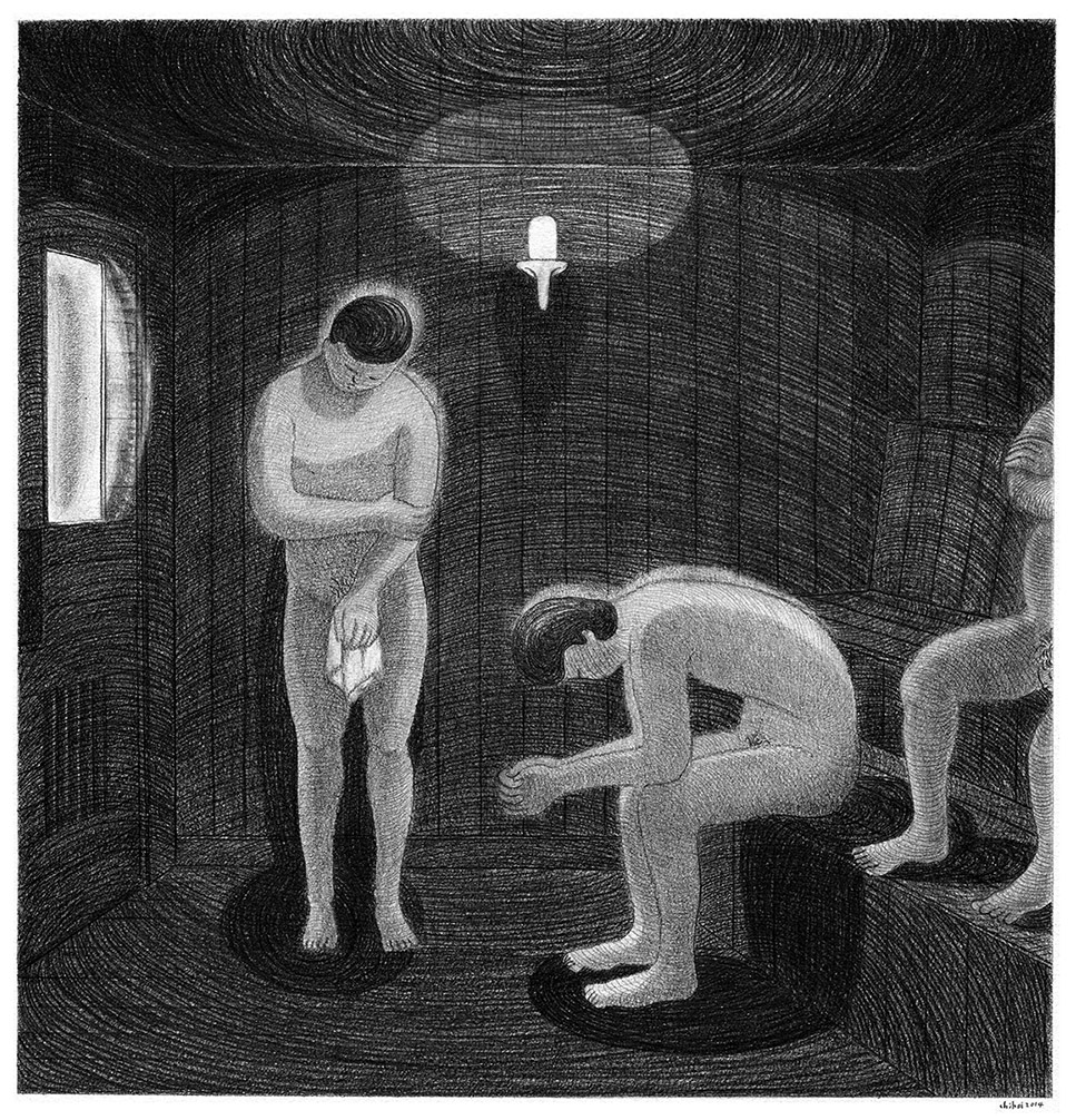 sauna room 1, pencil on paper, 37 x 38cm, 2014. private collection.