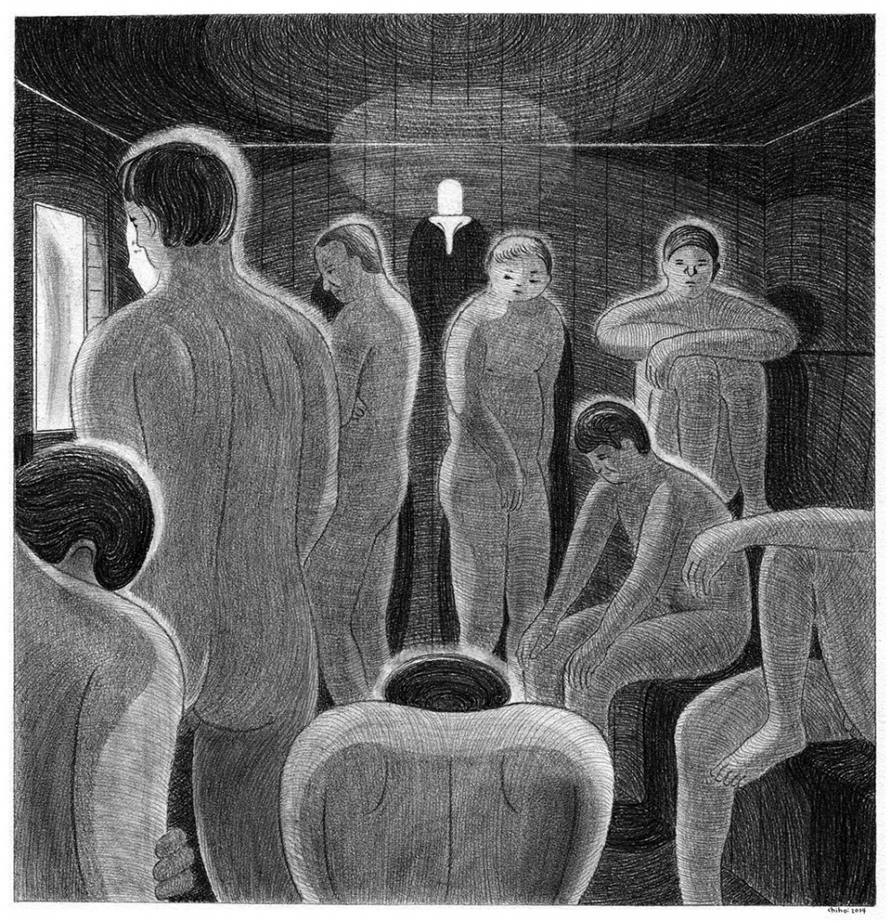 sauna room 2, pencil on paper, 37 x 38cm, 2014.
