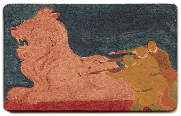 zookeeper 4, acrylic on wood, 5.6 x 9.1cm, 2014. private collection.